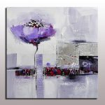 Aliexpress Buy Beautiful Abstract Painting Purple Flower Linen Canvas
