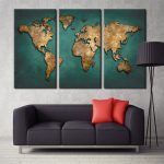 Aliexpress Buy World Map Canvas Wall Painting Home Decor Vintage Large Dark Green Maps