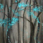 Alleviation Gray Turquoise Art Painting Lourry