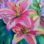 Almost Finished Pink Lily Flower Watercolor Painting Cook Artist