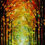 Altar Trees Palette Knife Oil Painting Canvas Leonid