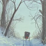Amish Painting Horse Buggy Winter Trail Anns Nature