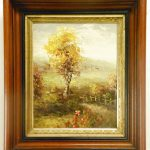 Antique Style Oil Painting Detailed Wood Frame Spring Landscape