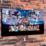 Art Canvas Print Oil Painting Castle Disney Cartoon Characters Wall Home Decor