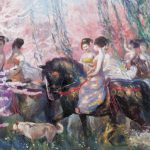 Art Oil Painting Chinese Ancient Beauties Horses Springtime Canvas