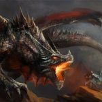 Art Print Poster Painting Drawing Fantasy Monster Battle Dragon Lfmp
