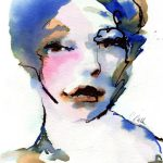 Art Print Watercolor Ink Painting Female