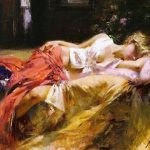Art Repro Oil Painting Sleep Beautiful Woman Canvas Inch