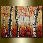Autumn Birch Landscape Painting Oil Canvas