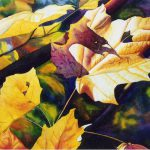Autumn Leaves Art Watercolor Painting Print Cathy