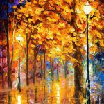 Autumn Trees Palette Knife Oil Painting Canvas Leonid