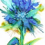 Blue Fire Alcohol Ink Painting Art