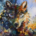 Blue Moon Wolf Painting Laurie