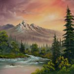 Bob Ross Mountain Sunset Painting Paintings