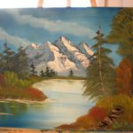 Bob Ross Style Oil Painting Mountain