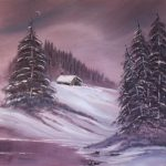 Bob Ross Winter Moon Oil Painting Paintings