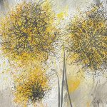 Brighter Blooms Yellow Gray Modern Artwork Painting Lourry