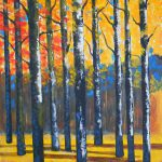 Brushworks Monte Birch Tree Painting Palette Knife Acrylic Canvas Framed