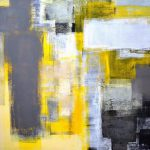 Busy Grey Yellow Abstract Art Painting Carollynn