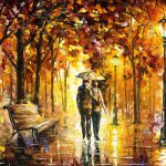 Caring Love Palette Knife Oil Painting Canvas Leonid