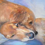Carol Schiff Daily Painting Studio Gone Dogs Puppy Portrait Small