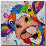 Cartoon Painted Large Printed Canvas Paintings Cow Oil Modern Decoration Wall