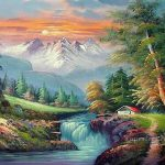 Cheap Vivid Freehand Style Bob Ross Painting Oil