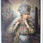 Chinese Women Oil Paintings Minority Painting Purchasing Souring Agent