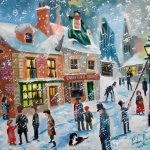 Christmas Carol Scrooge Winter Snow Lamplighter Oil Painting Gordonbruce
