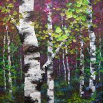 Colourful Acrylic Birch Aspen Tree Painting Canvas Alberta Abstract Landscape
