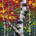 Colourful Autumn Fall Birch Aspen Tree Painting Contemporary Canadian Abstract