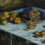 Copy Paintings Famous Artist Apples Grapes Claude Monet Artwork High Quality