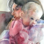 Custom Impressionist Watercolor Painting Young Mother Her Sleepy Baby Girl