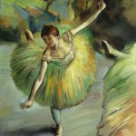 Degas Dancer Tilting Oil Painting