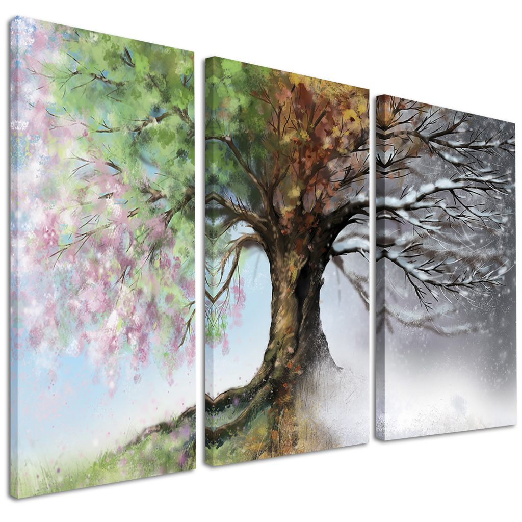 Designart Tree Four Seasons Piece Graphic Art Wrapped Canvas Set Reviews