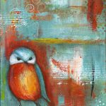 Diane Ackers Orange Teal Abstract Bird