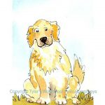 Dog Art Golden Retriever Greeting Card