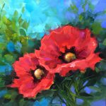 Dreams Flying Red Poppies Painting Nancy