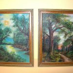 Early Set Two Framed Oil Landscape Paintings Beautiful Art