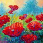 Field Red Poppies Painting Marion