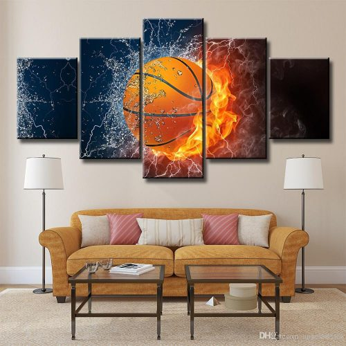 Fired Basketball Unframed Wall Art Oil Painting Canvas Fashion Textured