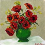 Green Vase Red Poppies Painting Susan Mclean