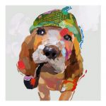 Hand Painted Funny Dog Modern Abstract Animal Oil Painting Wall Art Home Decor