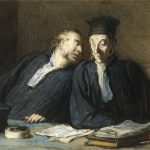 Honore Daumier Two Lawyers Conversing Painting Print