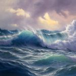 Huge Oil Painting Seascape Ocean Waves Sunset Framed Canvas Shipping