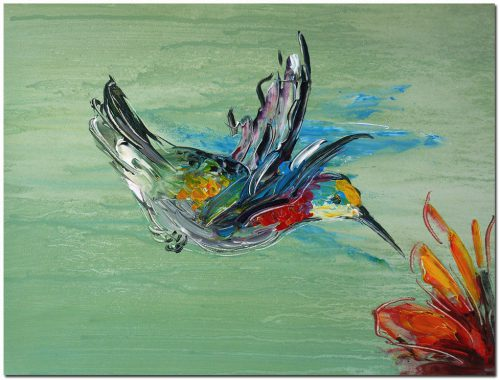 Hummingbird Art Signed Hand Painted Abstract Bird Oil Painting Canvas