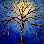 Items Similar Midnight Tree Original Acrylic Abstract Painting Landscape