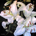 Jeanne Illenye Still Lifes White Oriental Lilies Ladybugs Dewdrops Contemporary Oil