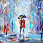 Landscape Painting Original Oil Rain Love Palette