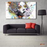 Large Canvas Painting Modern Wall Art Girl Flowers Oil